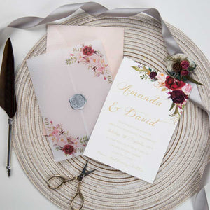 marsala vellum invitation wrap