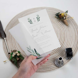 olive vellum invitation wrap
