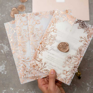 rose gold foil vellum wrap invitation closed