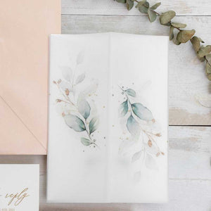 botanical foliage vellum invitation wrap