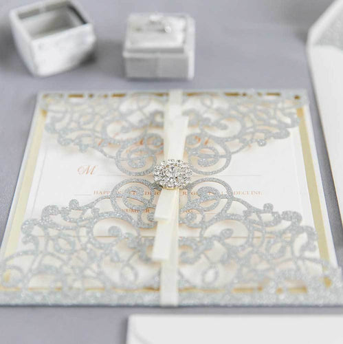 silver glitter laser cut invitation