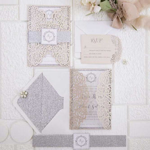 blush pink roses laser cut invitation DIY set
