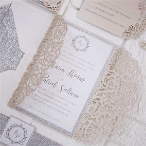 blush pink roses laser cut invitation close up
