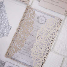 blush pink roses laser cut invitation detail
