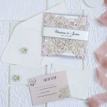 blush pink laser cut invitation with silver glitter DIY set