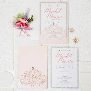 blush pink sweet sixteen party laser cut invitation