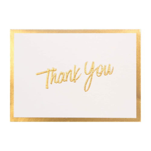 A6 Thank You Cards and Envelopes Gold Script PK10 - Designer Cards