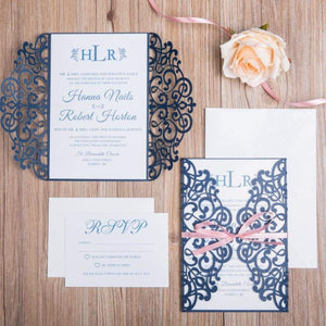 Angel Gates Navy - Laser cut & Ribbon - DIY Set