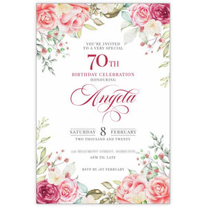 rose 70th birthday invitation