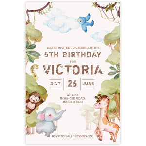 jungle adventure birthday invitation