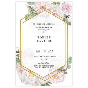 peonie birthday invitation