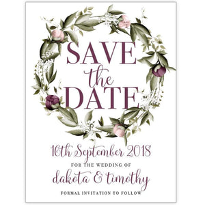 Blushing Marsala Peonie - Save the Date Card