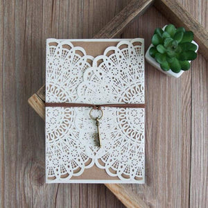 boho rustic laser cut wedding invitation