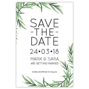 Cornered Leaves - Save the Date Card