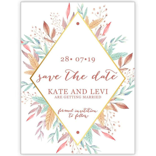 Diamond Leaves - Save the Date Card