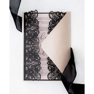 black laser cut invitation
