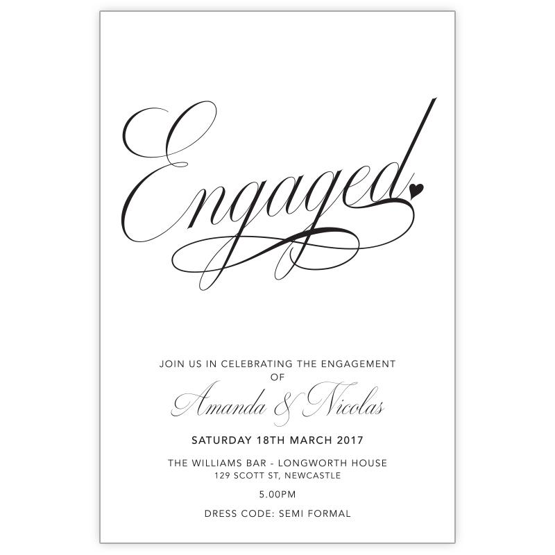 classic black and white engagement invitation