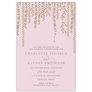 blush pink and gold hanging vine engagement invitation