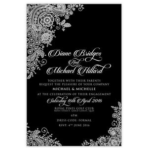 black and white lace engagement invitation