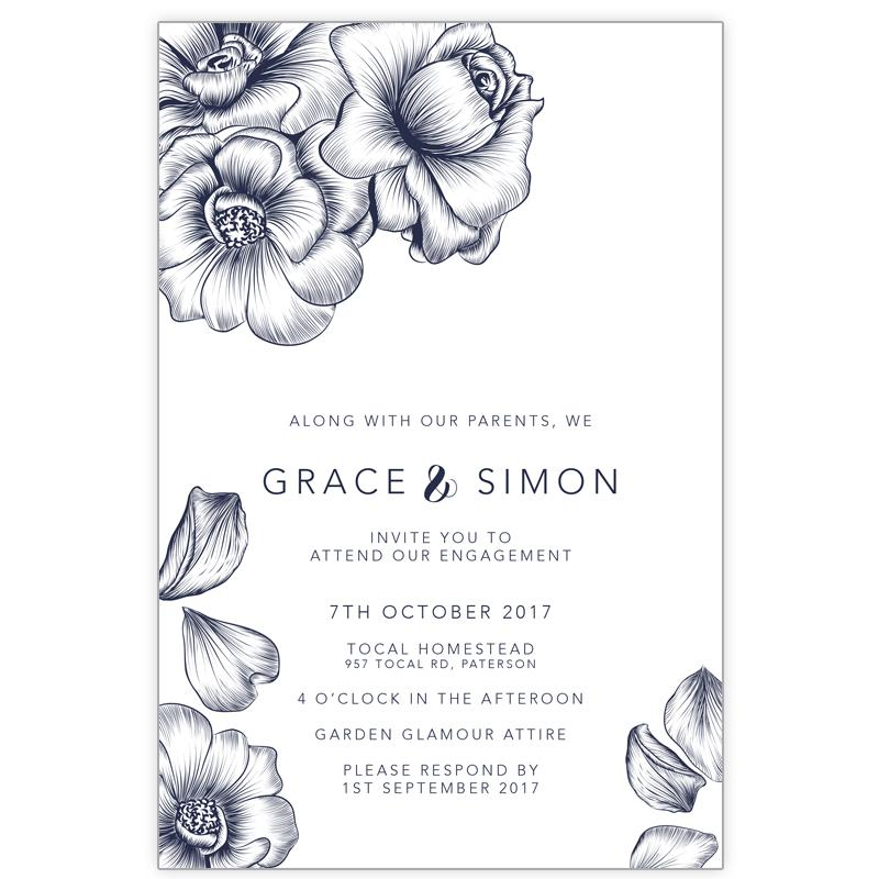 navy floral engagement invitation