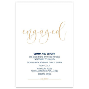 navy and ivory engagement invitation