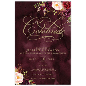 Marsala and gold coloured water colour flower bouquet engagement card