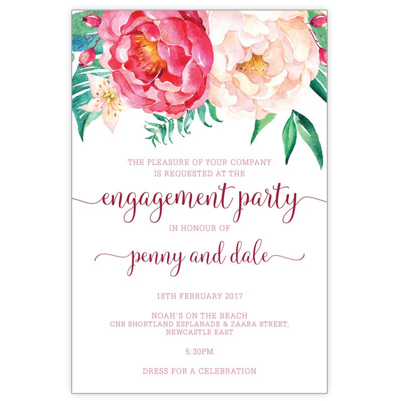 engagement invitation with peonie bouquet flowers