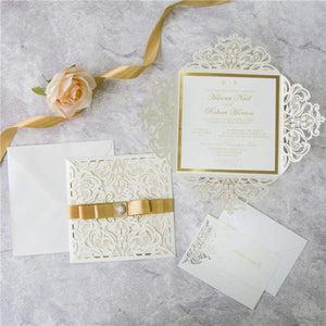Folded Gates Cream - Laser cut with Ribbon - DIY Set