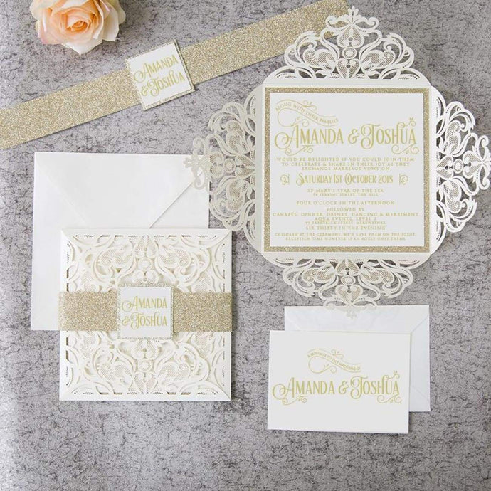 Folded Gates Ivory - Laser cut & Glitter Band - DIY Set