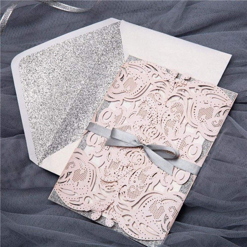 Silver glitter envelope liner Blush pink laser-cut wedding invitation