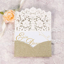Laced Pocket Glitter - Laser cut Tri-fold Pocket - Laser cut Invitation
