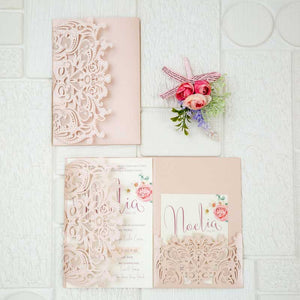blush pink laser-cut pocket invitation suite