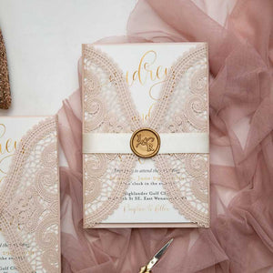 blush pink lace laser-cut-wedding-invitation wax seal closed