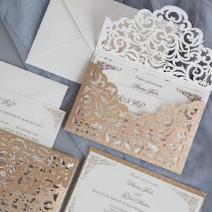'Luxurious Full Lace Glitter' - Laser cut Pocket