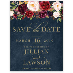 Marsala Flowers 1 - Save the Date Card
