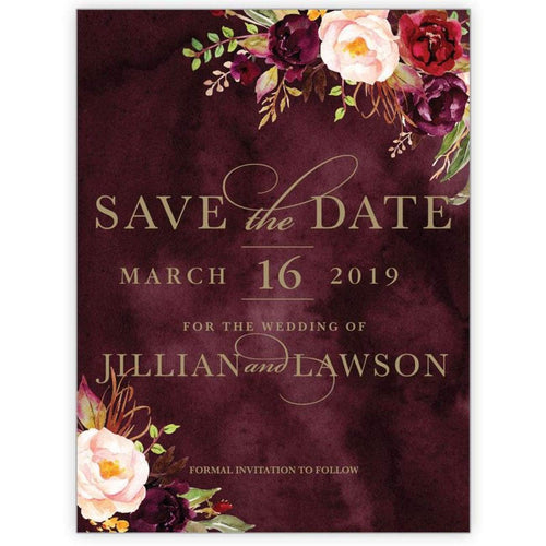 Marsala Flowers 2 - Save the Date Card