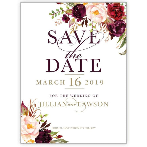Marsala Flowers 3 - Save the Date Card