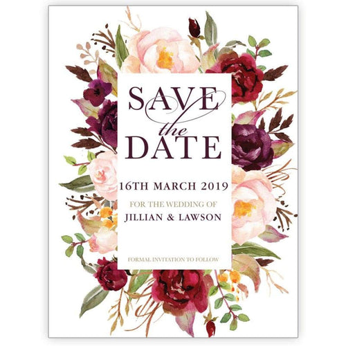 Marsala Flowers 4 - Save the Date Card