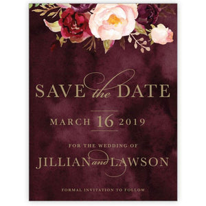Marsala Flowers 5 - Save the Date Card