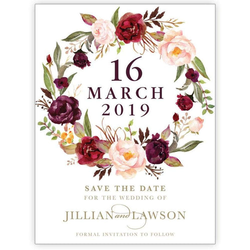 Marsala Flowers 6 - Save the Date Card