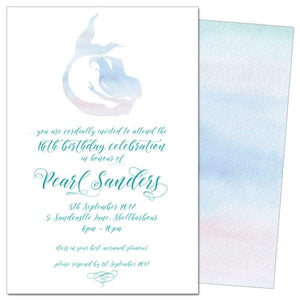 Mermaid Silouette 2 - Birthday Invitations