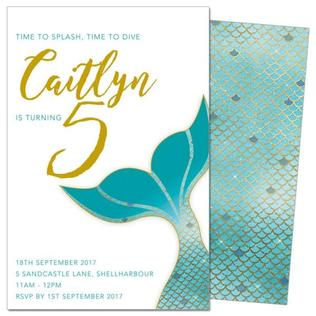 Mermaid Tail Turquoise - Birthday Invitations
