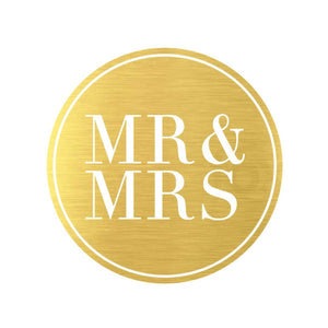 Metallic Sticker - Mr and Mrs Gold 50pk - Embellishment