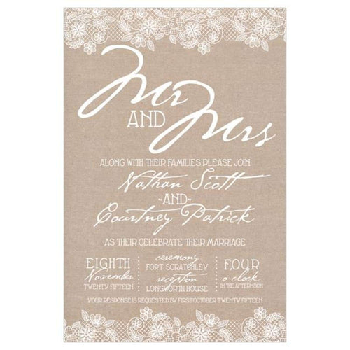 Mr and Mrs White Lace (wi) - Wedding Invitation