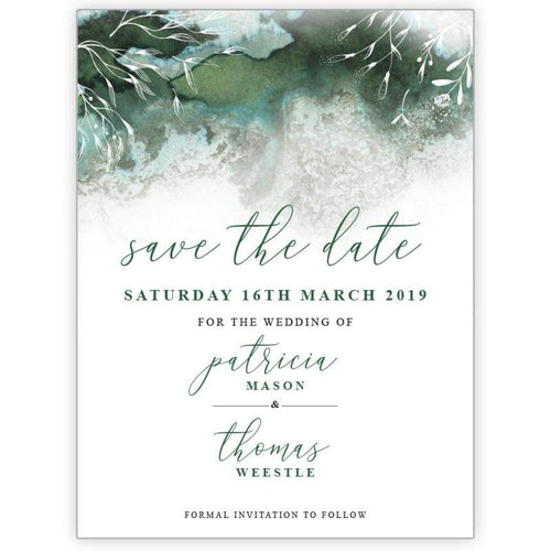 Ombre Magic - Green - Save the Date Card