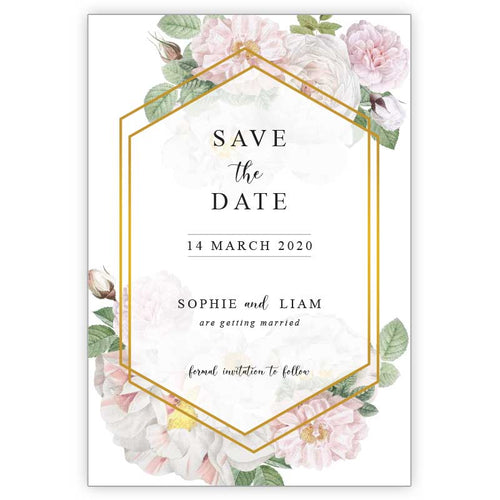 floral save the date cards with white peoniess pink peonies