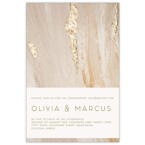 Stroke of Gold - Engagement Invitations