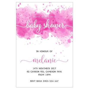 Watercolour Pink - Baby Shower Invitations
