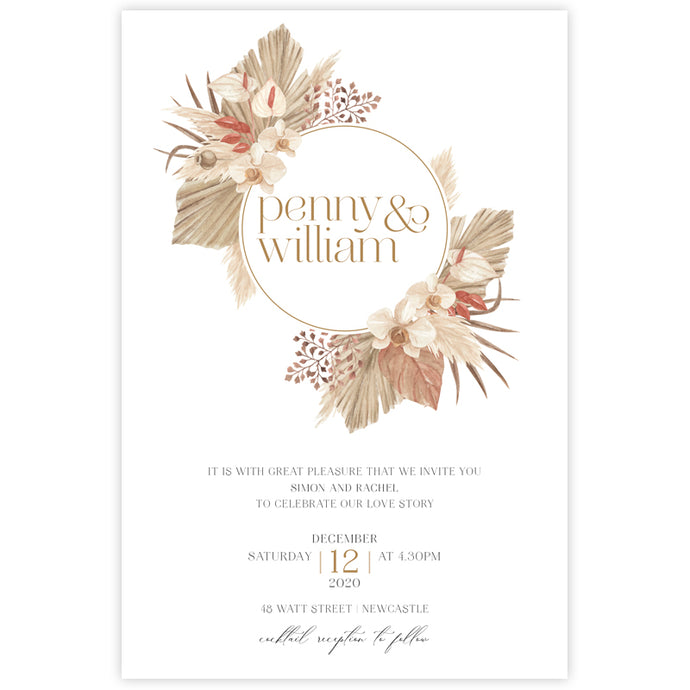 boho wedding invitation dried palm leaves