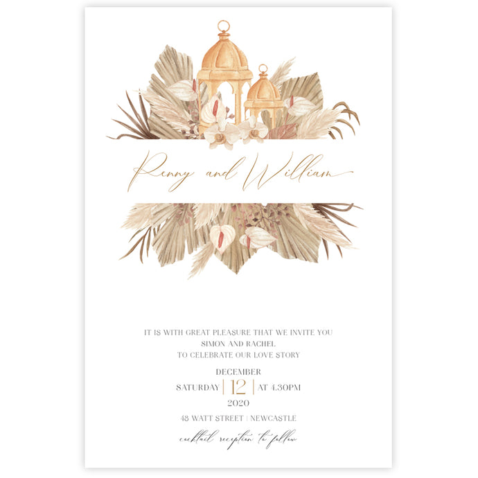 boho dried palm leaves lantern wedding invitation